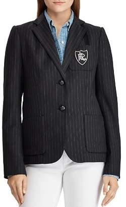 Ralph Lauren Pinstripe Crest Patch Blazer