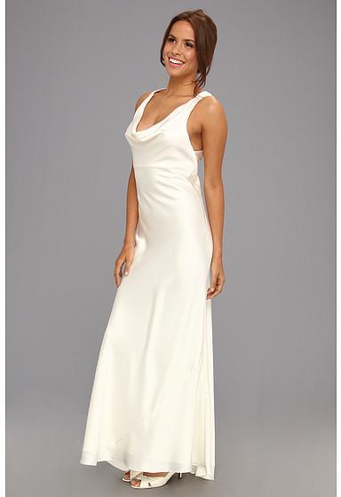 ABS by Allen Schwartz Cowl Neck Crisscross Draped Dress
