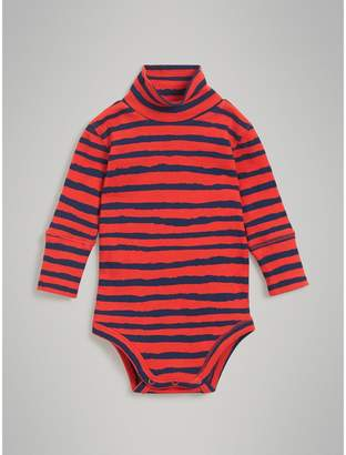 Burberry Roll-neck Striped Cotton Bodysuit