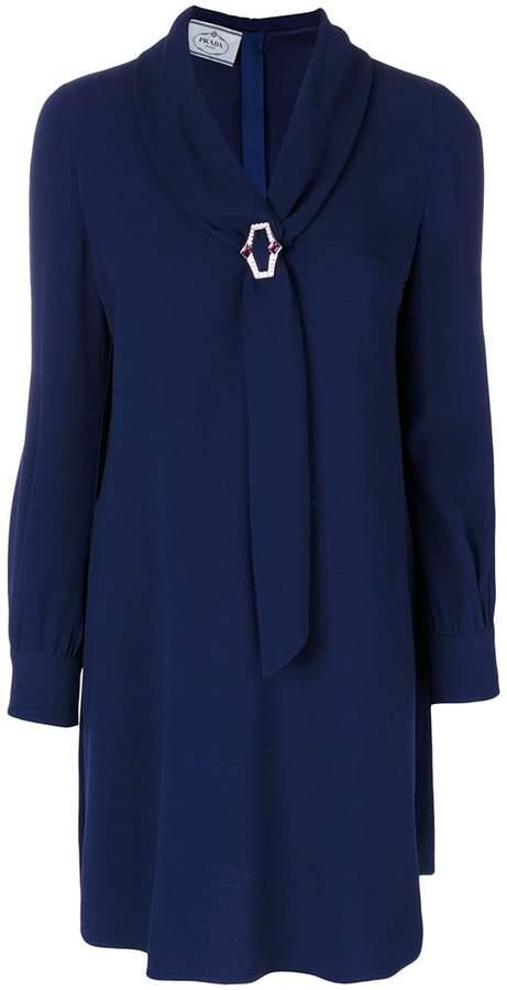 Prada shift dress with gem brooch