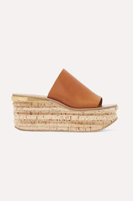 Chloé Camille Leather Wedge Sandals - Tan