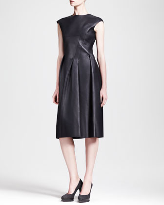 Jil Sander Popart Seamed Side-Pleat Leather Dress