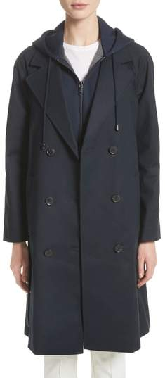 Double Breasted Cotton Blend Trench Coat with Removable Hoodie Inset