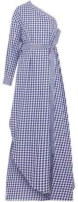 Rosetta Getty One-Shoulder Gingham Cotton Maxi Dress