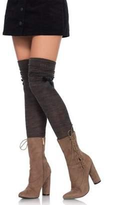 Leg Avenue Women's Marled Knit Over the Knee Scru, Brown/Green, O/S