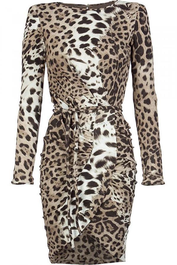 Roberto Cavalli Stone/Brown Gepard Print Dress