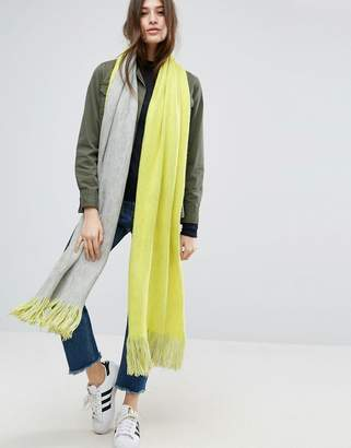 Asos Long Tassel Scarf In Supersoft Knit In Colour Block