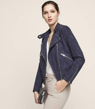 Reiss Freya Collarless Suede Biker Jacket