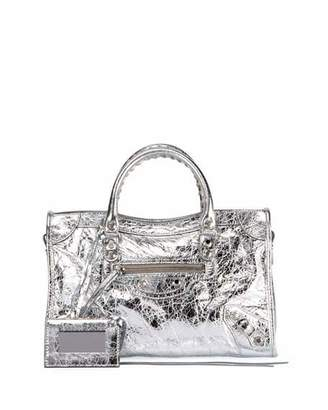 Balenciaga Classic City AJ Small Metallic Leather Satchel Bag