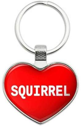 Generic Squirrel - I Love Food Metal Heart Keychain Key Chain Ring, Multiple Colors Available