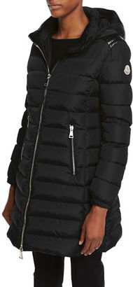 Moncler Orophin Long Puffer Coat w/Leather Trim $1,660 thestylecure.com