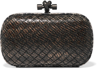 Bottega Veneta - The Knot Watersnake-trimmed Intrecciato Karung Clutch - Anthracite $1,900 thestylecure.com