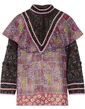 Anna Sui Woman Embroidered Tulle And Printed Silk-blend Chiffon Blouse Purple Size 12 Anna Sui Low Price Fee Shipping For Sale gYVHeUs4z