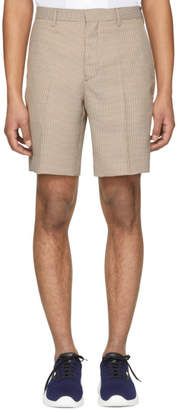 Fendi Brown and Beige Micro Houndstooth Bermuda Shorts