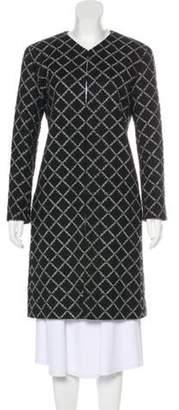 Chanel Tweed Knee-Length Coat Black Tweed Knee-Length Coat