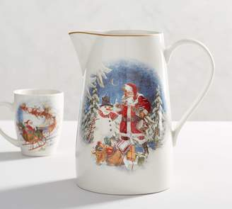 Pottery Barn Nostalgic Santa Pitcher