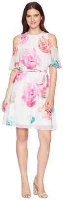 Calvin Klein Belted Floral Cold Shoulder Chiffon CD8HA50K Women's Dress