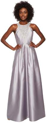 Adrianna Papell Long Halter Mikado Gown with Beaded Detail Women's Dress