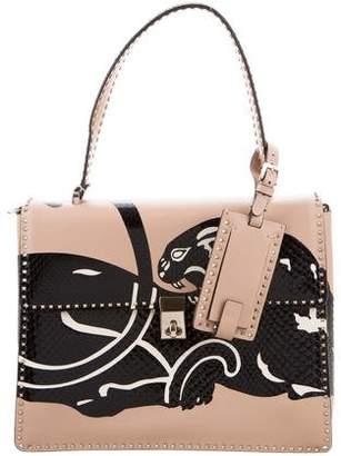 Valentino Python Panther Studded Top Handle Bag