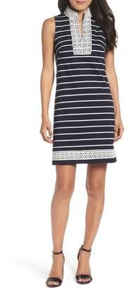 Eliza J Mandarin Collar Stripe Shift Dress