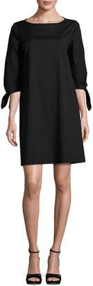Lafayette 148 New York Elaina Tie-Sleeve Stretch-Cotton Shift Dress, Black
