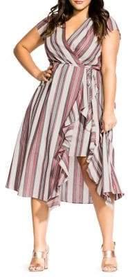 City Chic Plus Be Free Striped Faux Wrap Dress