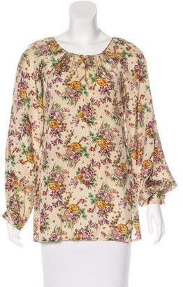 Oscar de la Renta Floral Print Long Sleeve Top