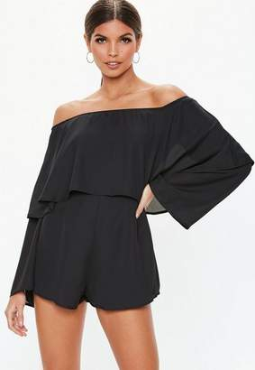 Missguided Black Double Layer Bardot Romper
