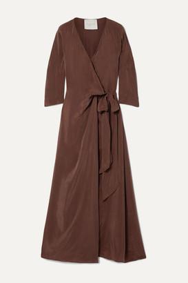 Sebastian Envelope1976 - San Washed-satin Wrap Maxi Dress - Brown
