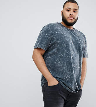 Asos DESIGN Plus relaxed longline t-shirt with pocket in acid wash