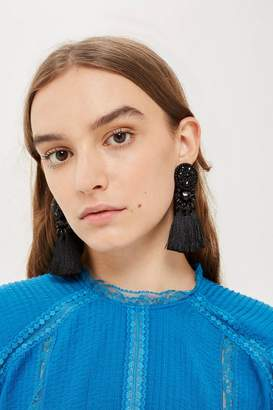 Topshop Black Bead and Tassel Drop Earrings
