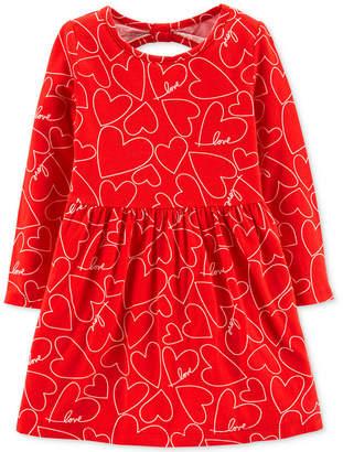 Carter's Carter Toddler Girls Heart-Print Bow-Back Dress