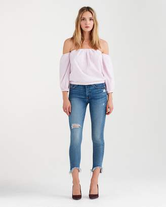 7 For All Mankind Puff Sleeve Off The Shoulder Top in Pink and White