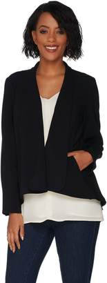 Halston H By H by Long Sleeve Open Front Jacket with Seam Detail