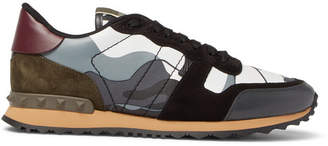 Valentino Garavani Rockrunner Camouflage-Print Canvas, Leather and Suede Sneakers - Men - Gray