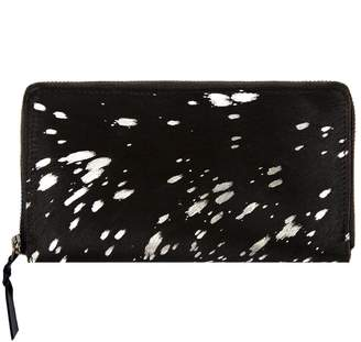 MAHI Leather - Classic Ladies Purse In Black Pony Hair and Silver Detailing