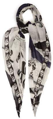 Alexander McQueen Skull & Rose Print Silk Blend Chiffon Scarf - Womens - Black
