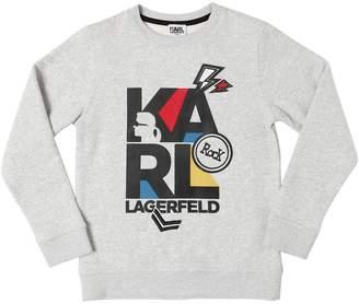 Karl Lagerfeld Rubberized Logo Cotton Sweatshirt