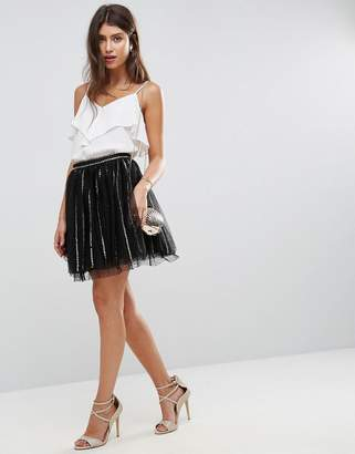Asos DESIGN Sequin Stripe Tulle Mini Skirt with Spot Mesh Underlayer