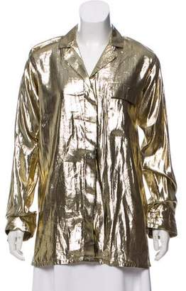 Oscar de la Renta Metallic Long Sleeve Top