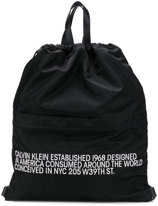 Calvin Klein slogan drawstring backpack