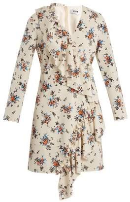 MSGM Asymmetric Ruffle Floral Print Crepe Dress - Womens - White