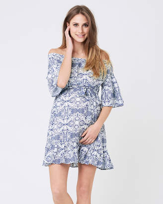 Ripe Maternity Ella Cold Shoulder Frill Dress