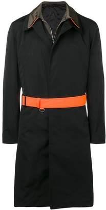 Alexander McQueen contrasting belted raincoat