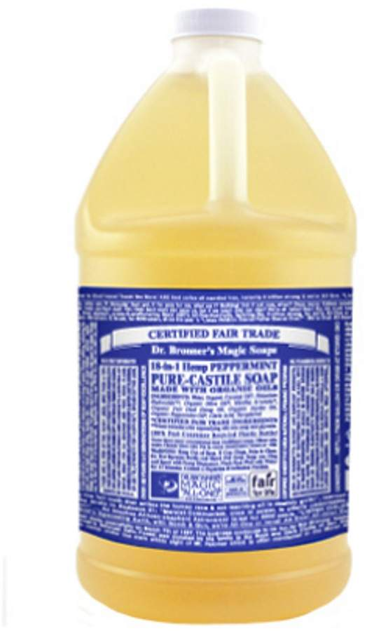 Dr. Bronner's Peppermint Castile Liquid Soap by 64oz Liquid Soap)