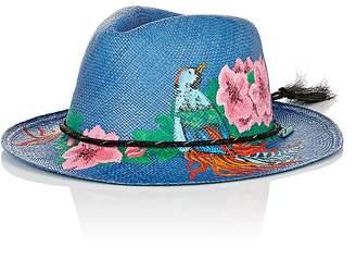 Ibo Maraca Women's Curacao Hand-Painted Straw Panama Hat