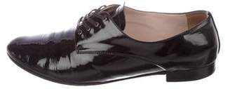 Miu Miu Patent Leather Round-Toe Oxfords