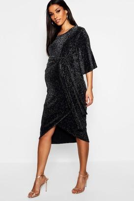 boohoo Maternity Shimmer Kimono Sleeve Tie Wrap Dress