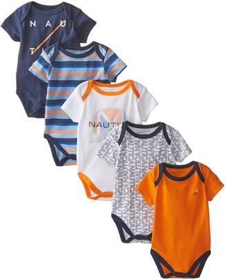 Nautica Baby-Boys Newborn 5 Pack Printed Bodysuit, Assorted, 6 Months