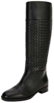 Bottega Veneta Tall Leather Riding Boot, Black